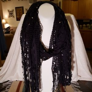 Accessories - Black Lace Embroidered Embellished Cutout Scarf